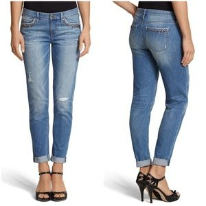 WHBM Distressed Embellished Girlfriend Crop Jean